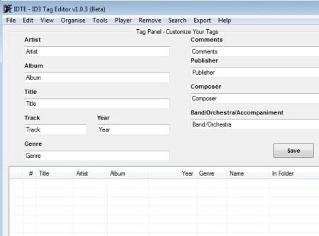 ID3 Tag Editor default window