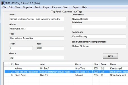ID3 Tag Editor editing info