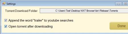 KAT Browser settings