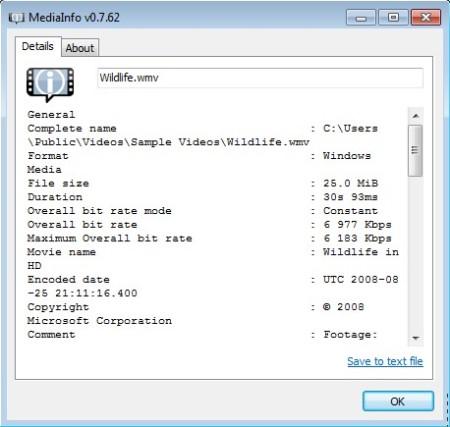 MediaInfo Lite default window