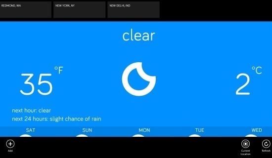 Minimalistic Weather App For Windows 8