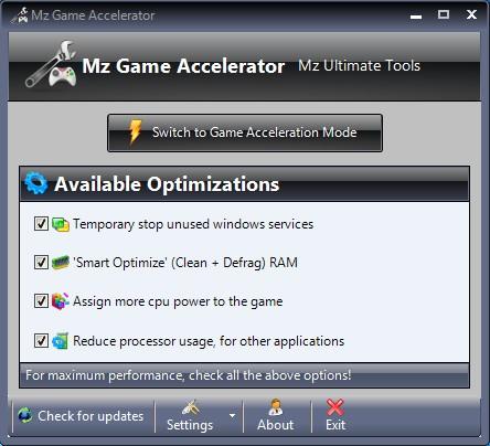 Mz Game Accelerator default window