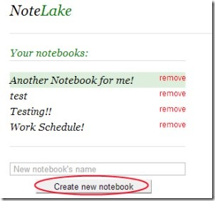 NoteLake 02 online notebook