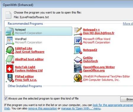 OpenWith Enhanced default window
