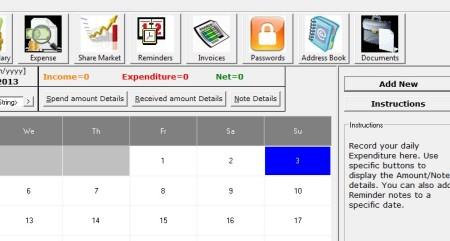 Personal Organiser adding expense
