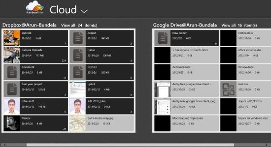 RainbowDrive App For Windows 8 interface