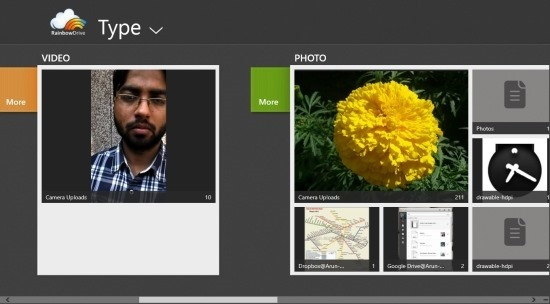 RainbowDrive App For Windows 8 tyep interface