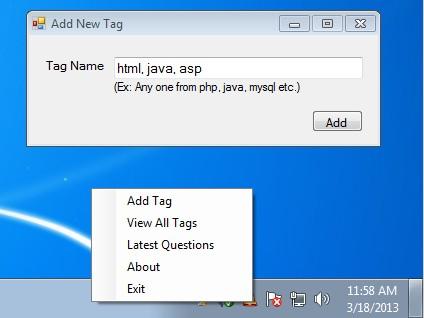 SO Notifier default window