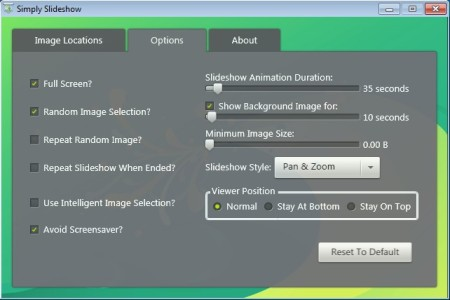 Simply Slideshow changing options