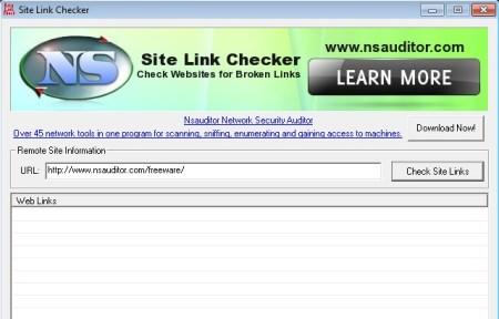 Site Link Checker default window