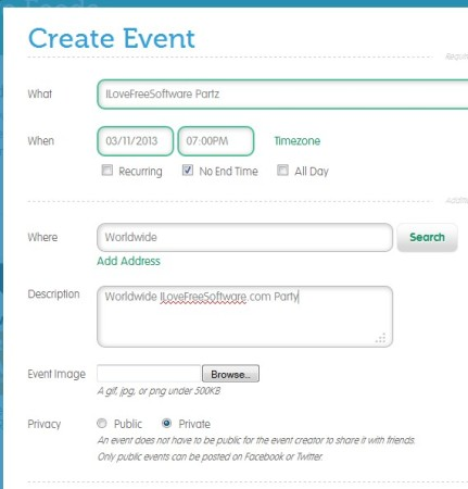 Skedj creating event