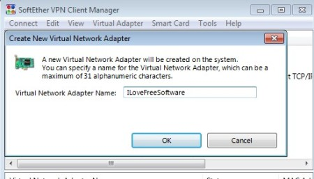 SoftEther adding virtual network adapter