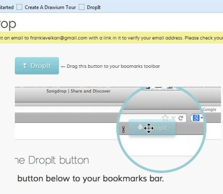 SongDrop adding dropit button