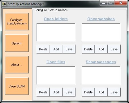 Startup Actions Manager  default window