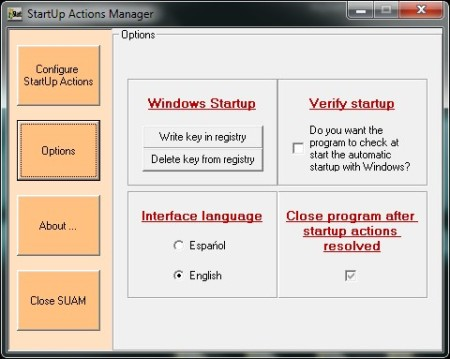 Startup Actions Manager options