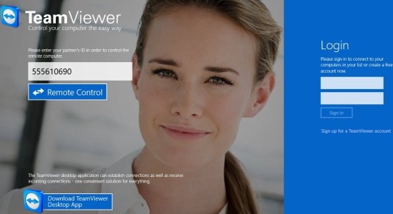 Team Viewer App for Windows 8