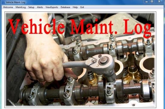 Vehicle Maint. Log Software interface