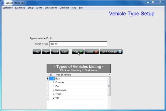 Vehicle Maint. Log Software vehicle type setup