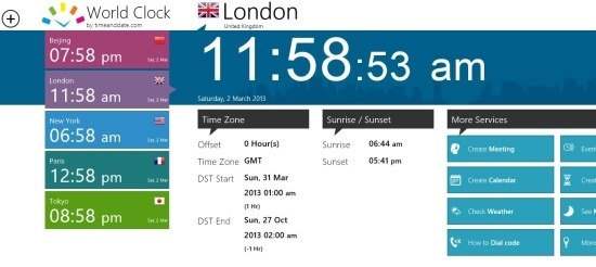 World Clock App For Windows 8 To See Time Of Multiple Cities Together