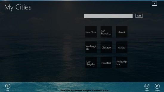 add city in Weather App For Windows 8
