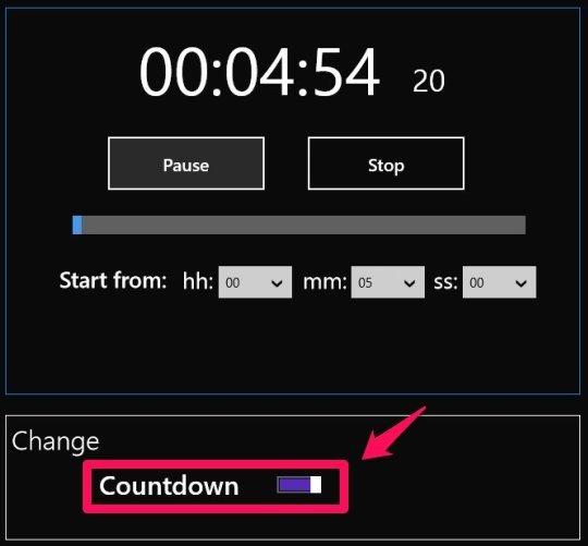 countdown timer windows 8