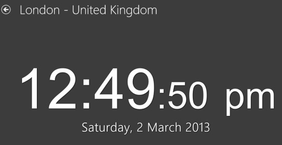 full screen clock of the world clock for Windows 8