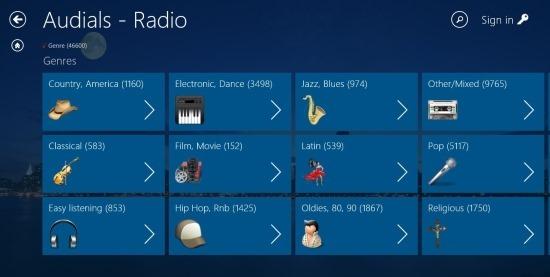genre in audials radio for windows 8