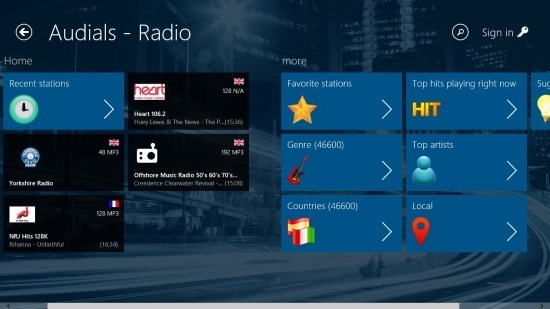 homescreen audials app for Windows 8