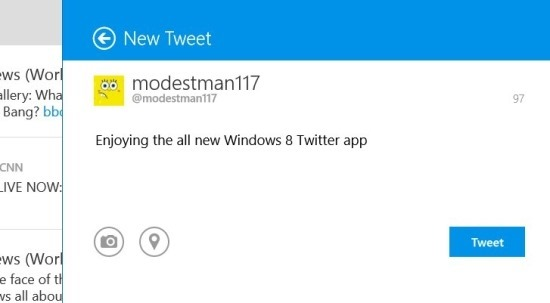 how to tweet in the all new windows 8 twitter app