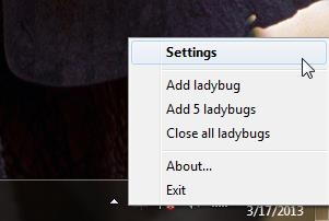 insects on desktop system tray properties
