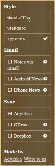 memo notepad settings