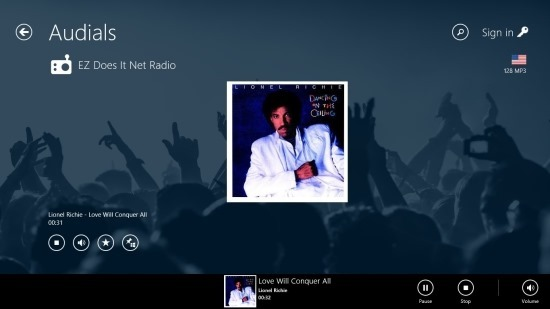 now playing Audials Radio App