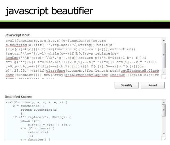 online javascript beautifier