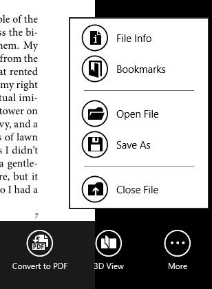 option menu in best pdf reader for windows 8