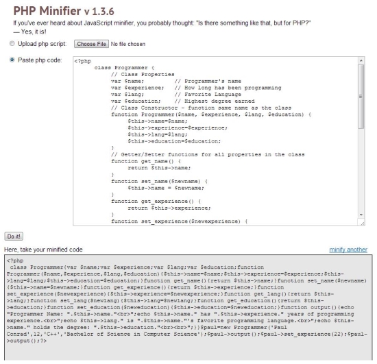 php minifier