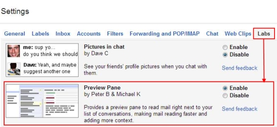 preview pane in gmail lab