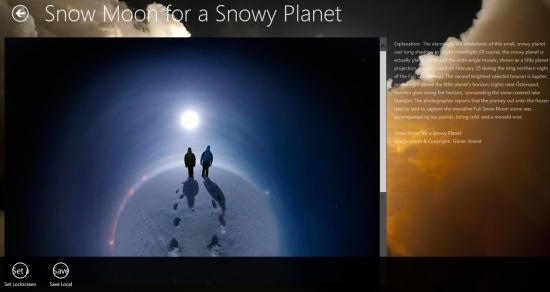 space photo for windows 8 option menu