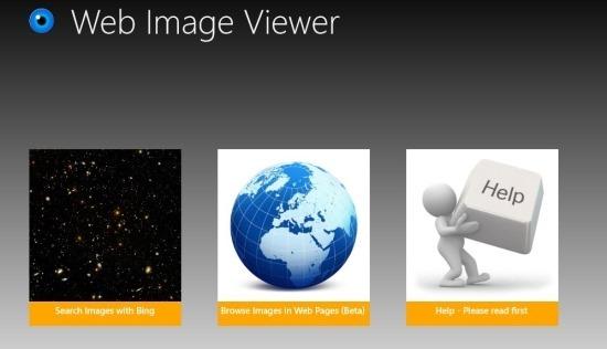 start screen Web Image Viewer windows 8