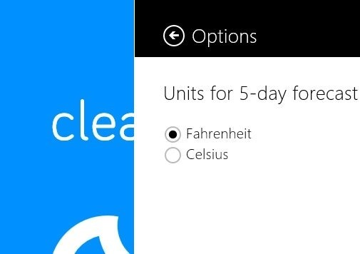 switch units in Weather App For Windows 8