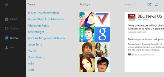 windows 8 Twitter App discover