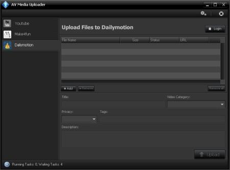 AV Media Uploader default window