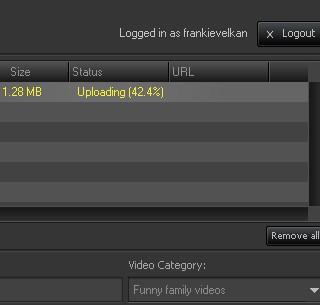 AV Media Uploader upload in progress