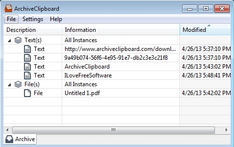 ArchiveClipboard default window