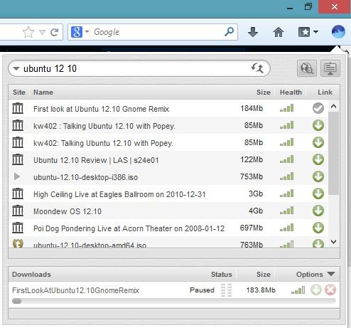 BitTorrent Surf Firefox search