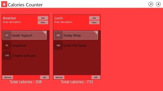 Calorie Counter For Windows 8