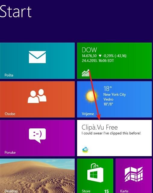 ClipaVu start menu windows 8