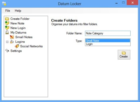 Datum Locker adding new note folder