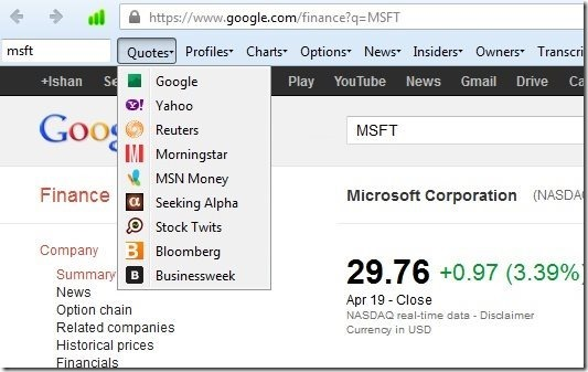 Firefox Toolbar to Research Stocks: Quick Stock Research Toolbar