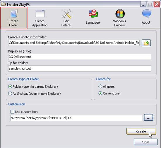 Folder2MyPC folder shortcut