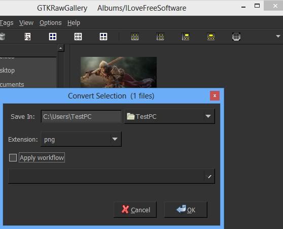 GTKRawGallery converting image